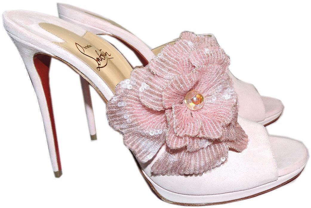 migliori prezzi e stili più freschi Christian Louboutin Submuline 120 Pompadour rosa Flower Sandals Mules Mules Mules Pumps 42  controlla il più economico