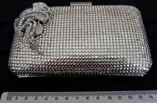 VINTAGE CRYSTAL HAND BAG CLUTCH WITH CRYSTALS AND INTRICATE DECORATIVE