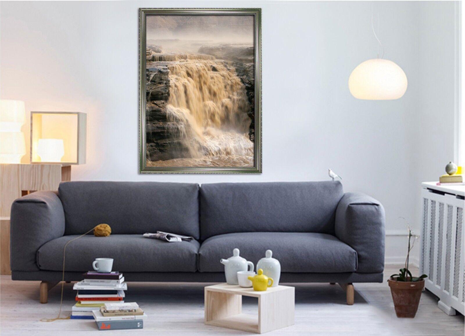 Agua de río Amarillo 3D 2 Póster Enmarcado Decoración del Hogar Pintura de Impresión Arte AJ Wallpaper