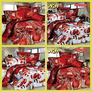 Royal-Father-Christmas-Winter-Print-Duvet-Quilt-Cover-Bedding-Set-Pillowcases