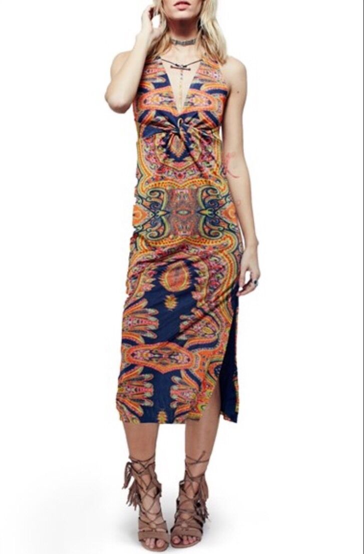 NEW Free People  Sin City Midi Stretch Dress Psychedelic Summer Combo Small