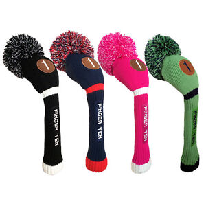 Knit-Hybrid-Headcover-Golf-Pom-Pom-Head-Covers-Driver-Fairway-Sporting-Goods
