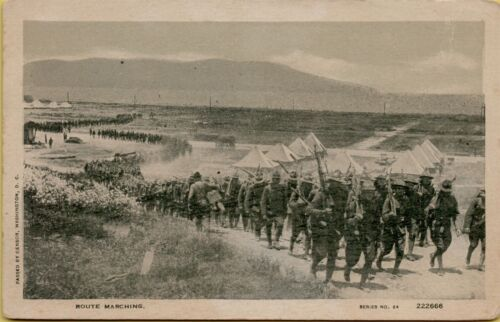 Military Route Marching Tents Thousands of Troops Soldiers Postcard A24