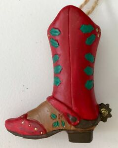 """Western Cowboy Boot Christmas Ornament 2.5"""" hand painted ..."""