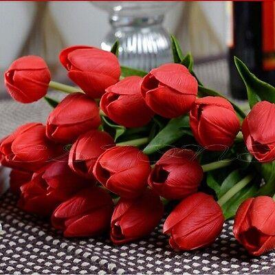Fashion 1/12/24 Tulip Artificial Latex Flower Wedding Bouquet Home Garden Decor