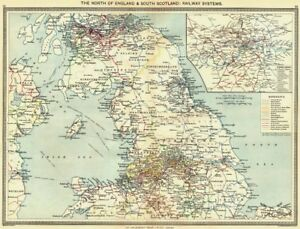 Map Of North England Uk.Details About Uk North Of England South Scotland Railway Systems Map London 1907