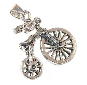 STERLING-SILVER-CHARM-PENDANT-Antique-Style-Bike-BICYCLE