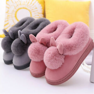Womens Winter Plush Bunny Rabbit Warm Indoor Slippers Slip On Cute Home Shoes