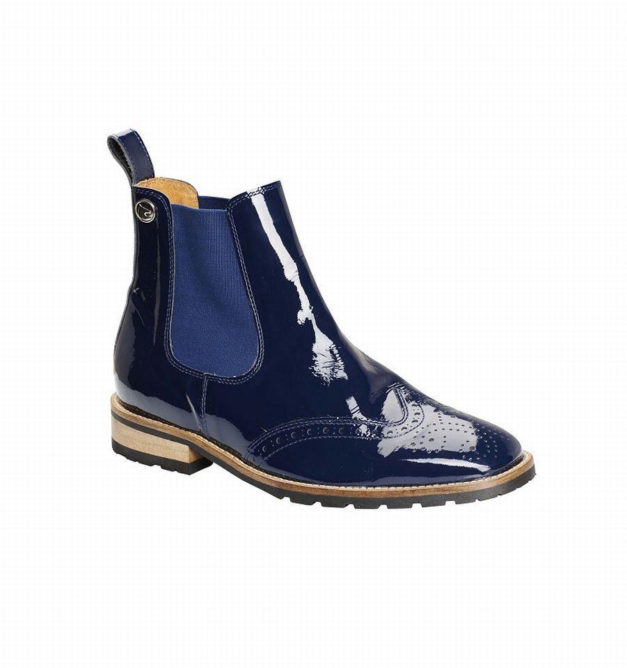 Montar Jodphur Bottine bleu Brillant Cuir bottes