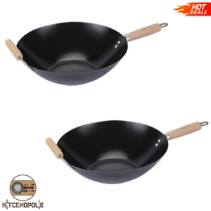 Nonstick Wok Frying Pan Set 2 Piece Cooking Wooden Handles Durable Carbon Steel