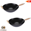 thumbnail 1 - Nonstick Wok Frying Pan Set 2 Piece Cooking Wooden Handles Durable Carbon Steel