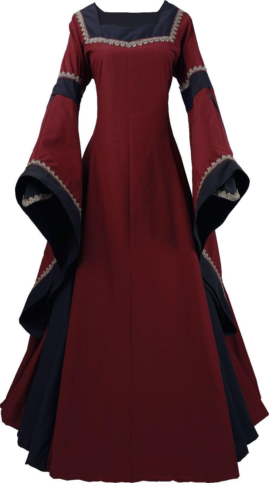 Mittelalter Karneval Larp Gewand Kleid Kostüm Guinevere Bordeaux-Schwarz XS-56     | Der Schatz des Kindes, unser Glück  | Konzentrieren Sie sich auf das Babyleben  | Neuartiges Design  | Zuverlässiger Ruf  | Elegant und feierlich