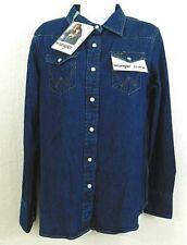 Wrangler Icons 27wwlnw Nwt Womens Western Snap Dark Denim Ls Shirt Sz X Small