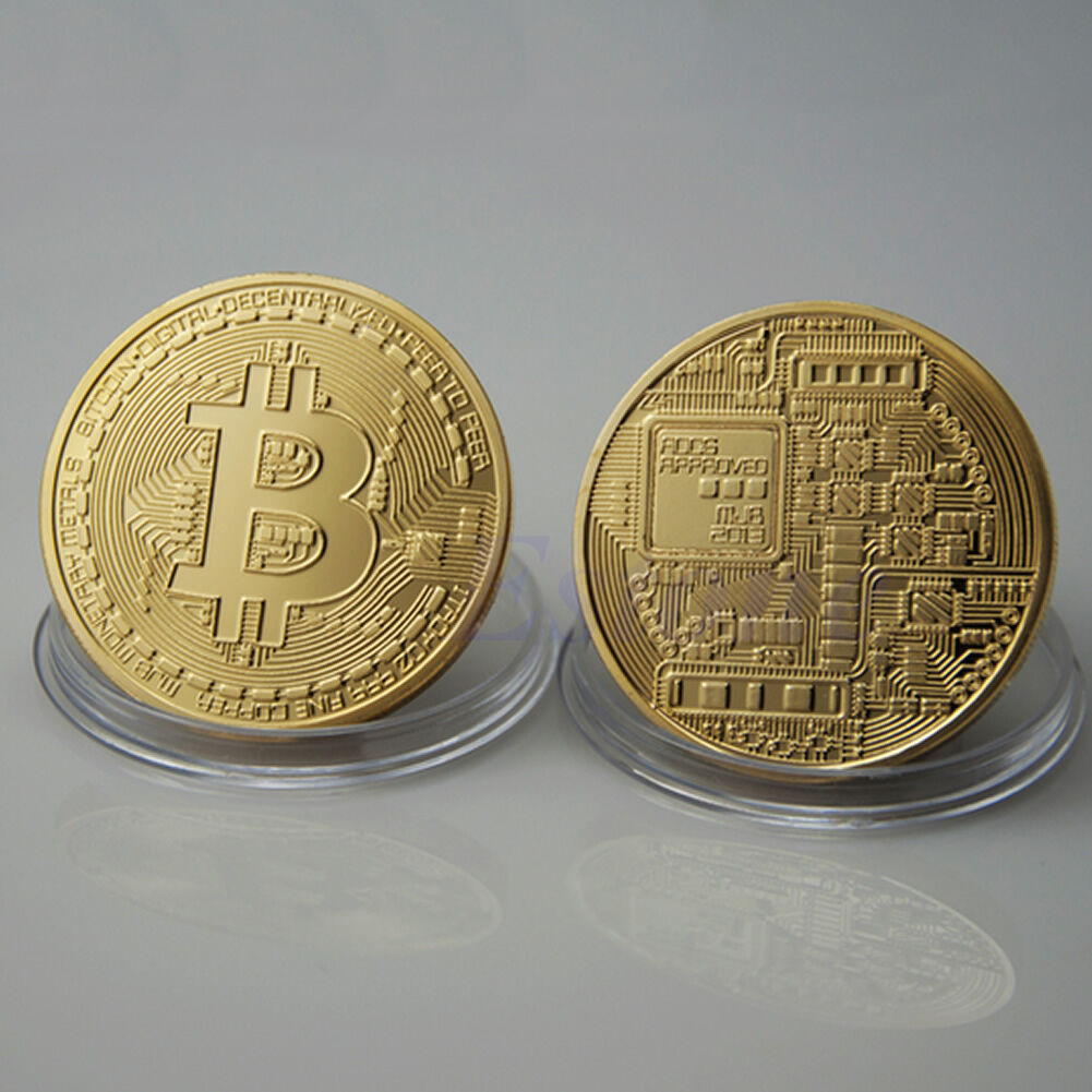 2 x Gold Plated Bitcoin Coin Collectible Gift BTC Coin Art Collection Physical#% 3