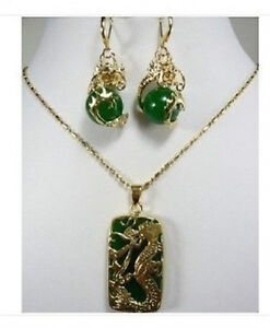 Emerald Green Jade Yellow Gold Plated Dragon Tablet Pendant and Necklace