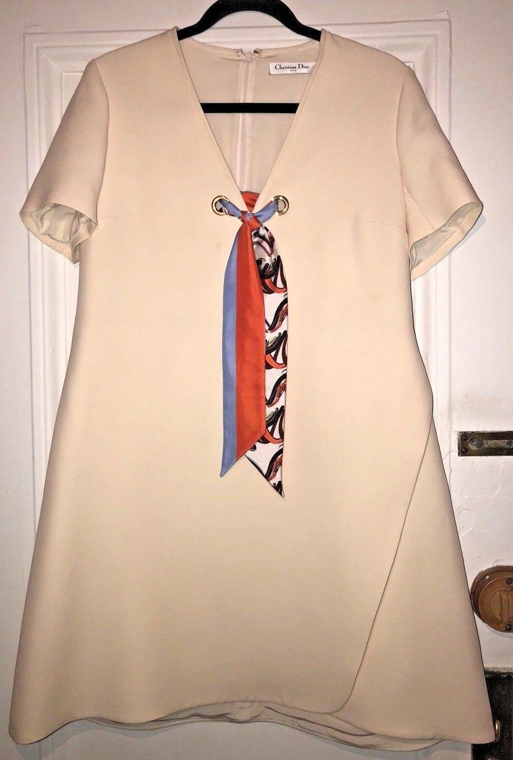 Christian Dior Cream Wool Silk Blend Short Sleeve Knee Length Dress USA Size 12