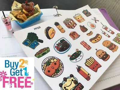 PP326 -- Kawaii Taco Junk Foods Life Planner Stickers for Erin Condren (25pcs)