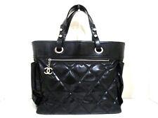 Authentic CHANEL Black Patent Leather Paris Biarritz Tote Bag GM w/ Pouch
