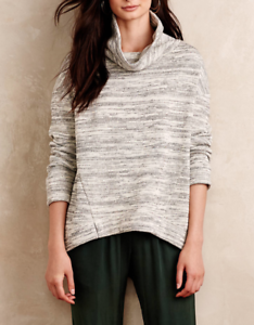 3de9a79e15f Image is loading ANTHROPOLOGIE-SATURDAY-SUNDAY-SPACE-DYE-GRAY-COWL-NECK-