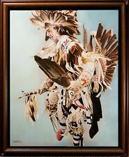 """Stunning Native American Oil Painting Dancing Warrior, """"Competitor II"""" Signed!"""