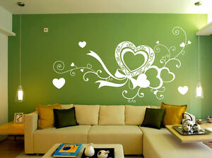 Image Is Loading Large Love Heart Bedroom Vinyl Art Wall Stickers