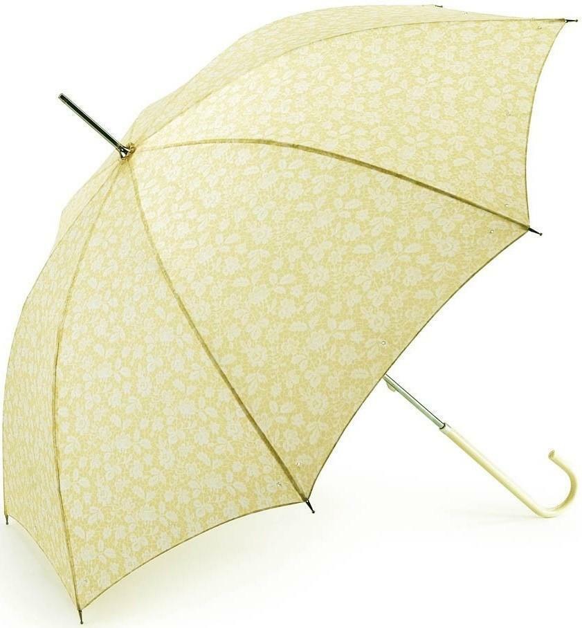❀ ڿڰ ❀ Fulton jaune pâle et crème Eliza Bruges Dentelle Femme Classique Canne parapluie