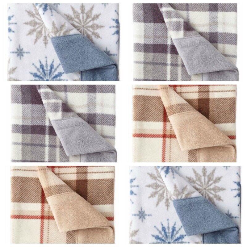 Sunbeam Super Soft Heavyweight 3 Pc Twin Fleece Sheet Set grau Tan Blau, New  70