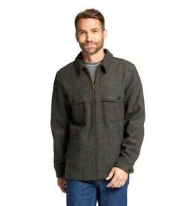 LLBean Mens Maine Guide Wool Zip Jac-Shirt W/ GoreTex Windstopper, Gray Plaid, S
