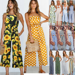 ee9d331ca80d Plus Size Boho Womens Spot Holiday Long Playsuits Dress Trousers ...