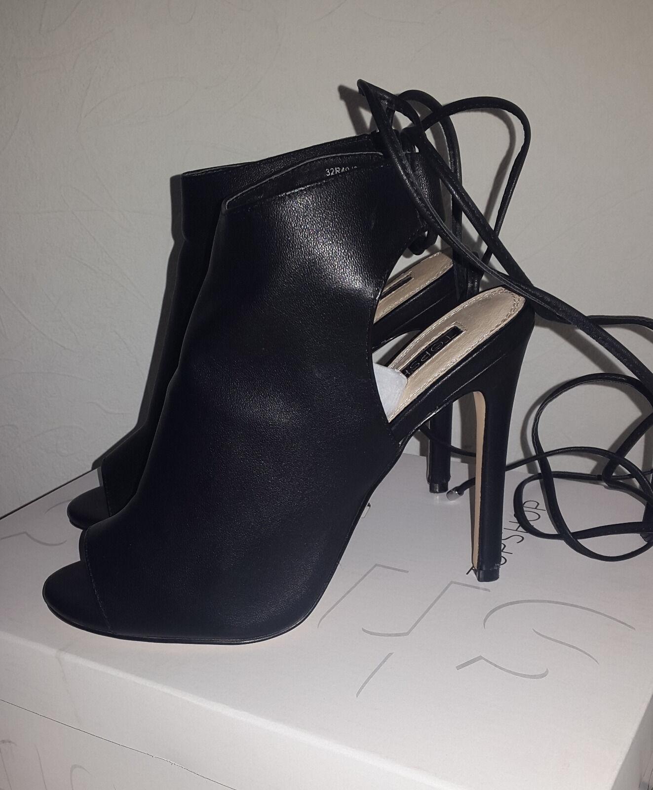 Topshop ROBYN - High Heel Sandaletten - black Damenschuhe Schnürung Leder Gr. 37