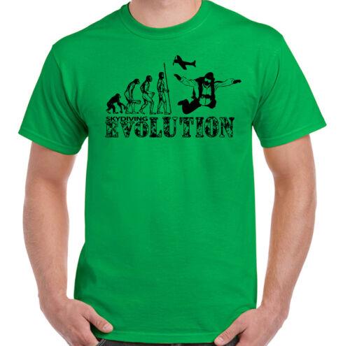 Mens Funny Free Fall T-Shirt Parachuting Skydiver Skydive Skydiving Evolution