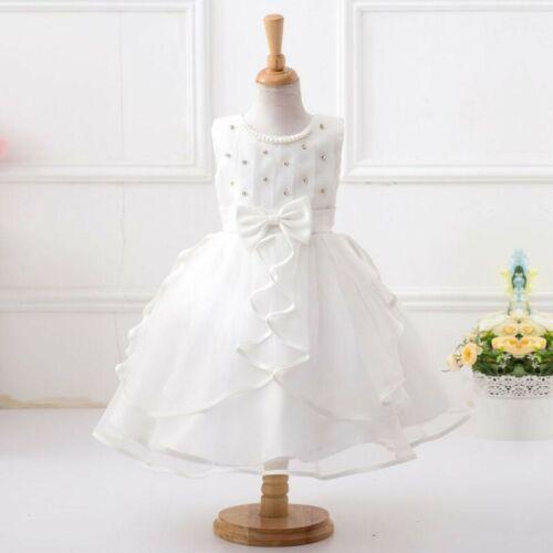 Flower Girls Formal Dress Christening Baptism Wedding First Communion Gown 0-11Y