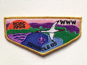 SEMINOLE-OA-LODGE-85-SCOUT-SERVICE-PATCH-FLAP-1994-NOAC-DELEGATE-GMY-BORDER-MINT