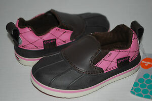 NEW NWT CROCS ALLCAST DUCK SHOES ESPRESSO BROWN / PINK rain shoes 9 10 12 1 2 3