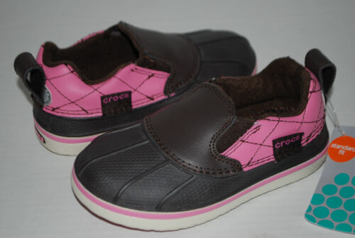 Nouveau Neuf avec étiquettes Crocs Allcast Duck Chaussures Espresso Marron//Rose Pluie Chaussures 9 10 12 1 2 3