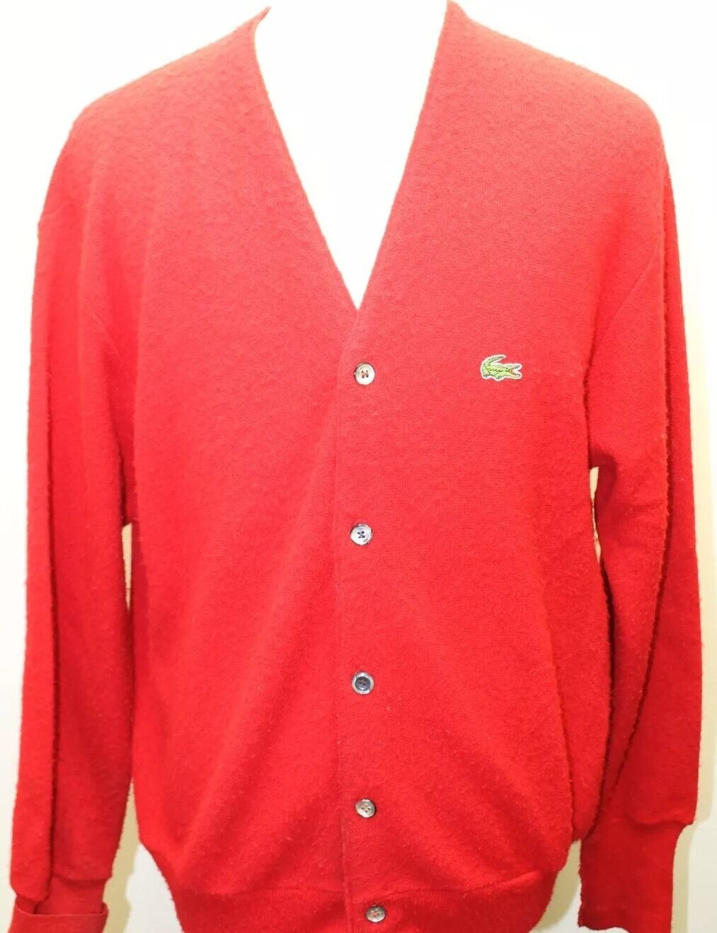 Vintage Izod Lacoste Men Cardigan Red Made In The USA Medium Layering