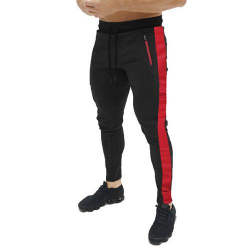 Men Slim Fit Stripe Tracksuit Bottoms Skinny Joggers Sweat Pants Gym Trouser UHC