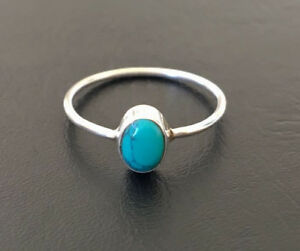 925-Sterling-Silver-Stackable-Turquoise-Gemstone-Stack-Ring-Cabochon-US-5-11