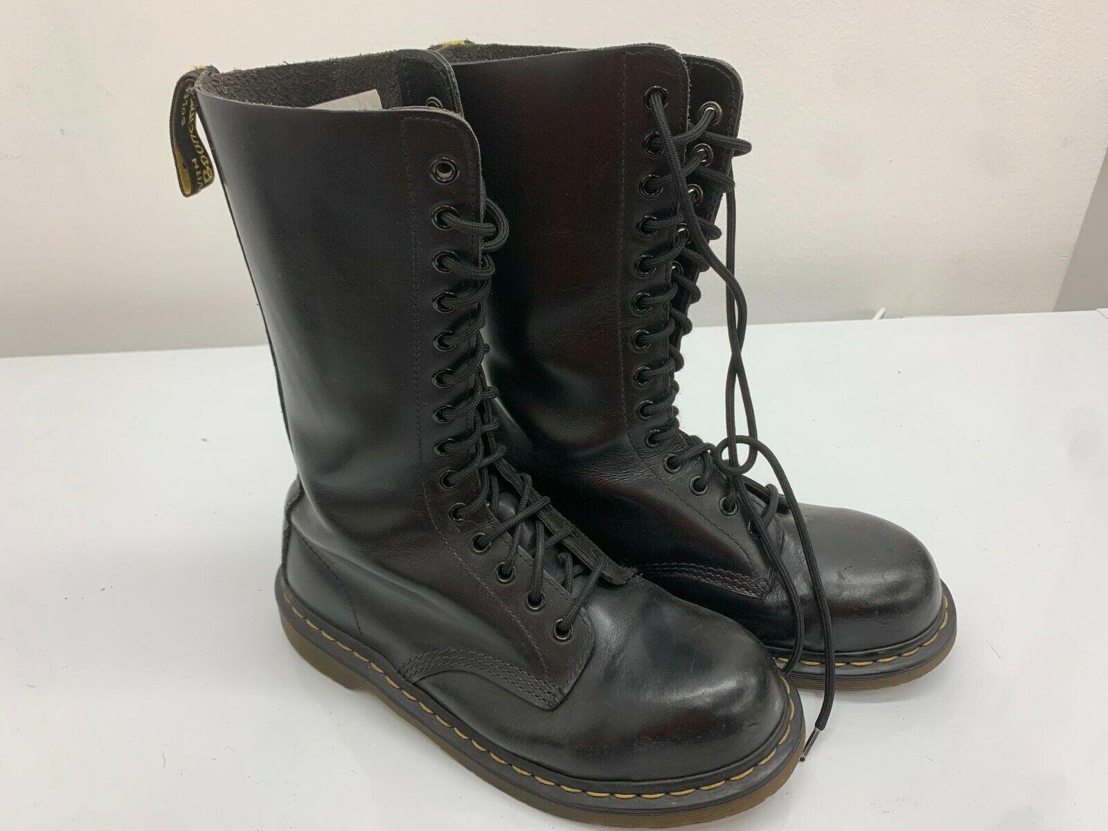 Dr Martens Boots 14 Eyelets Black Leather, Size 7UK, Steel Toe Cap Doc Martens