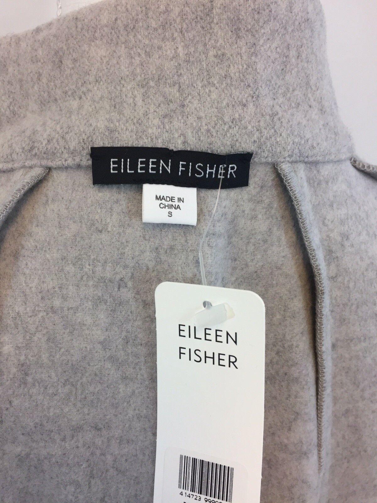 NEW EILEEN FISHER WOMENS COTTON PONCHO PONCHO PONCHO COAT LIGHT GREY SZ S aecca5
