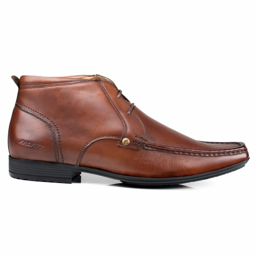 Front Clarkson Brown, Mens Leather Ankle Boots, Smart Lace-Up, Rubber Grip Sole