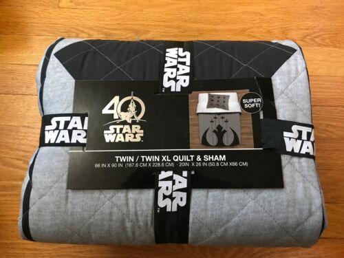 rebel 40th anniv. gray and black new Star Wars Twin//Twin XL Quilt /& Shams