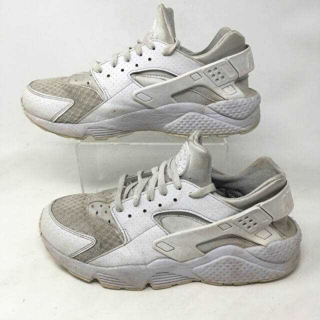 Nike Air Huarache Sneakers Running Shoes Mens 10.5 Leather All White  318429-111