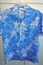 Mei Jan  Mens Medium  Hawaiian Bouquet on Blue Vintage 70s/Mint