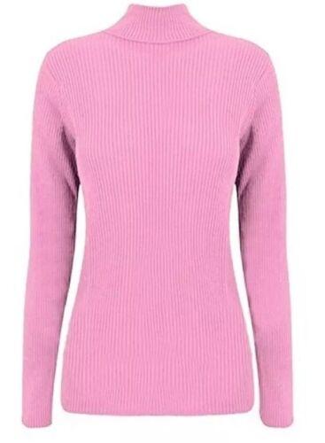 Women/'s plain ribbed turtle polo neck long sleeve jumper top PLUS SIZE 8-26 SALE