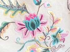 Beautiful Vintage Hand Embroidered Sand Woven CottonSet Of Three Chair Backs