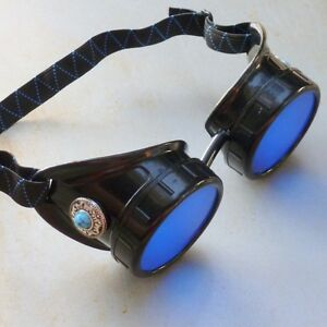 Steampunk goggles Victorian glasses novelty costume welding lens goth SSS black