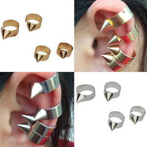 4-PC-New-Earring-Accessories-Cuff-Punk-Metal-Studs-Spikes-Gold-Silver-UK-Seller