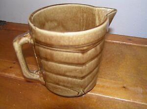 Vintage Small Brown Chevron Designed Glaze Pottery Creamer Milk Pitcher – 5 inch