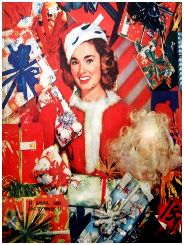 4985.Woman dressed in santa suit surrounded by gift.POSTER cor Home Office art